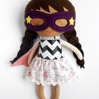 Asian superhero girl rag doll toy as toddler gift or for preschoolers for birthday fabric ethnic doll with mask and cape can be customized