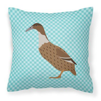 Dutch Hook Bill Duck Blue Check Fabric Decorative Pillow BB8035PW1818