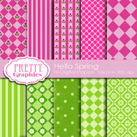 DIGITAL PAPERS - Hello Spring Paper Pack - Commercial Use - 12x12 JPG Files -Printable Papers- Scrapbook Papers - High Quality 300 dpi