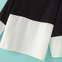 Colour-block Round Neck Loose Blouse -SheIn(Sheinside)
