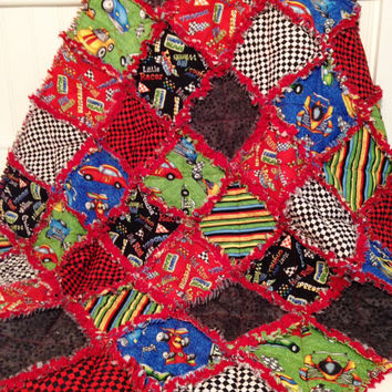 Baby Boy Rag Quilt  / Toddler/ Crib Rag Quilt, Hot Rods Ride Again, Handmade, Black Red Green.Blue White Gray Yellow, Ready to Ship, 36 x 42
