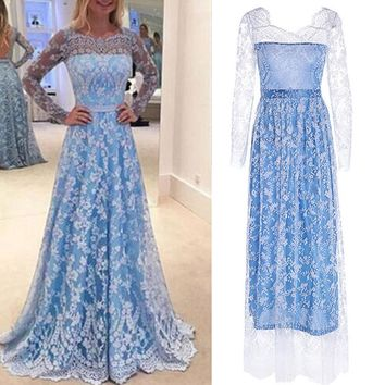 KANCOOLD Dress Women Lace Long Sleeve Sexy Backless Dresses Long Evening Party Ball Prom Gown Dress women 2018AUG9