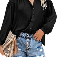 Black Inspired Button Down Peasant Blouse Top