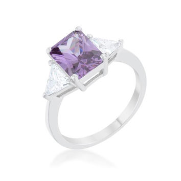 Classic Amethyst White Gold Rhodium Engagement Ring, size : 06