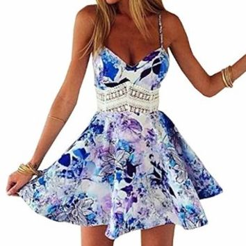 SUNNOW Womens Summer Straps Sleeveless Floral Printed Skater Short Dress