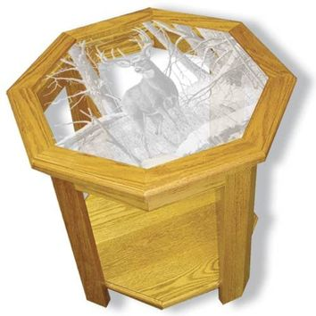 """After the Season"" Deer Etched Glass Art End Tables"