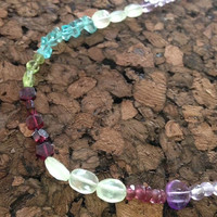 Apatite Peridot Amethyst Tourmaline Garnet Lavender Jade Light Green Quartz Necklace