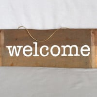 Reclaimed Wood Hand Painted Welcome Sign
