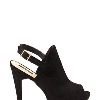 FOREVER 21 Peep-Toe Faux Suede Booties