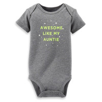 Carter's® Awesome Like My Auntie Short-Sleeve Bodysuit in Grey/Green