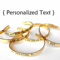 Unisex Custom brass Bracelet - Personalized Bracelet - hand stamped jewelry bangle cuff
