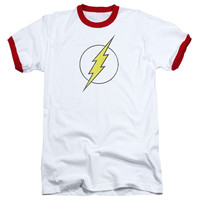 DC/FLASH LOGO DISTRESSED - ADULT RINGER - WHITE/RED -