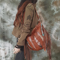 Whiskey brown fringed Italian buttery soft leather hobo bag purse fringe fringed hobo bag artistan purse bohemian raw festival free people