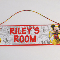 Personalized Mickey Mouse Name Sign - Red Disney Mickey Mouse Room Decor