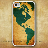 iphone 4 case, vintage world map iphone 4s case, white iphone 4 case, graphic iphone 4 case