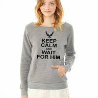 keep calm and wait for him airforce ladies sweatshirt