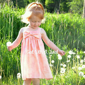 Girls Summer Dress, Big Bow Dress, Toddler Dress, Pink Peach Coral Salmon Dress, Sun Dress, Toddler Boutique Dresses, Custom Order