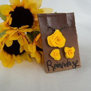Handmade Yellow Rose Earrings with Matching Dark Silver Necklace Great Christmas STOCKING STUFFER
