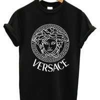 VERSACE Printed Logo Men Cotton Black and White Cotton T Shirt Tee - 03VR