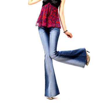 Women Spring Embroidered Flared Jeans Female Slim Big Horn Bell Bottom Jeans Fashion Design High Grade Denim Trousers