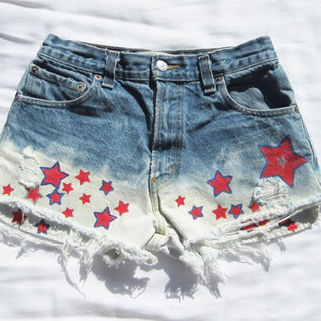 High waisted ombre' Levi cut offs hand painted stars jean shorts red white blue Vintage dip dyed