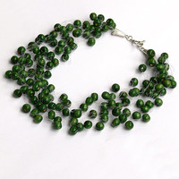 Dark Green Necklace. Wedding Necklace. Bridesmaid Necklace. Beadwork. Multistrand Necklace.