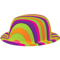 """Amscan Groovy 60's Party Rainbow Stripes Bowler Hat, Multi Color, 4 x 9.2"""""""