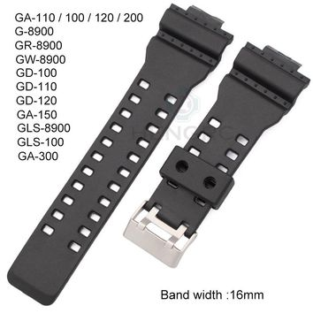 16mm Rubber Watchbands Men Black Sport Diving Silicone Watch Strap Band Metal Buckle For g-shock Watch Accessories