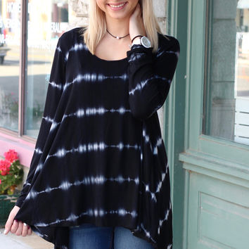Lace Up Back Muted Tie Dye Top {Black Mix}