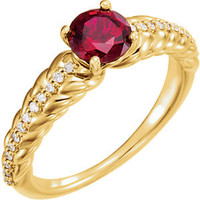 14K White Ruby & 1/8 CTW Diamond Ring