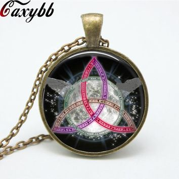 1 pcs colorful Pentagram Wicca Pendant Necklace charms Wiccan Jewelry Occult personality necklaces pendants FTC-N151