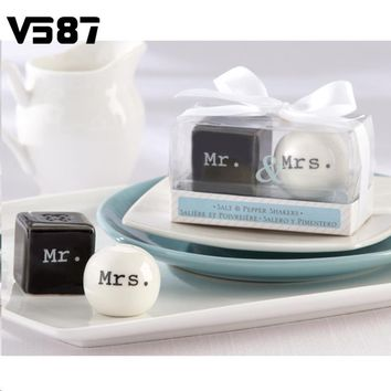 Cube Dice Ceramic Salt Pepper Shaker Spice Seasoning Container White Black Gift Box Wedding Events Decorative Utensils 2Pcs/Set