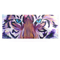 "Brienne Jepkema ""Purple Tiger"" Orange White Luxe Rectangle Panel"