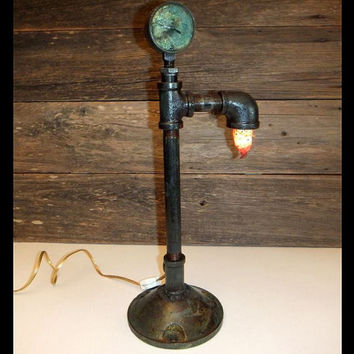 Steampunk Pipe Lamp / Industrial Lighting / Vintage Cast Iron Salvaged Pipes Repurposed Renewed Upcycled