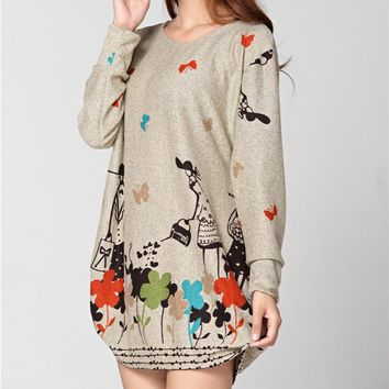 plus size women 2018 new spring fashion Hoodies & Sweatshirts casual butterfly pullover large loose  size tunic  XL-5XL