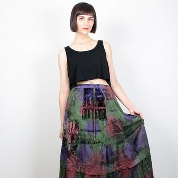 Vintage 90s Skirt Crushed Velvet Maxi Skirt 1990s Skirt Midi Skirt Soft Grunge Hippie Skirt Green Purple Pin Tie Dye Boho Skirt M Medium