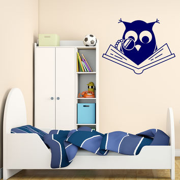 Wall Vinyl Decal Smart Owl Scholar Reading Book Kids Interior Decor Unique Gift z4685