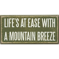 Life's At Ease With A Mountain Breeze - Cabin Wood Box Sign - 5-in x 2-1/2-in