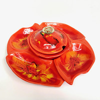 Vintage California Original USA Pottery Lazy Susan Serving Dish Red Orange Yellow Gold Glaze With Lid Mid Century MCM Dish Set Chips Dip