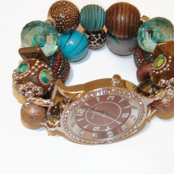 Brown and Turquoise Chunky Beaded Watch, Interchangeable Watch, Beaded Bracelet Watch, Brown and Turquoise Watch, Unique Gift, BeadsnTime