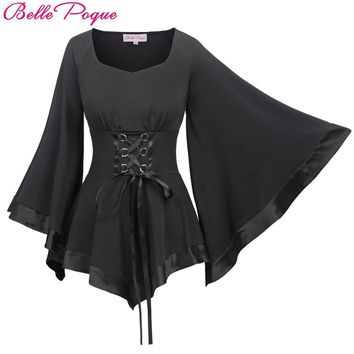 Gothic Blouse Corset Shirt with Large Flare Sleeves