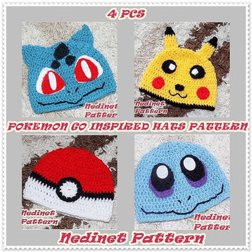 CROCHET PATTERN Pokemon-Pikachu and Pokeball, Squirtle, Bulbasaur inspired crochet hat, Pdf Pattern, baby to adult hat