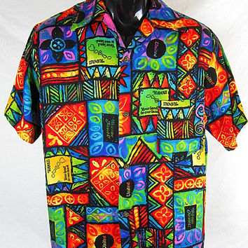 Vintage 70s Evelyn Margolis United Airlines Hawaiian Shirt 1970s mens size S Hawaiiana Airline Crew Promotional Island Neon Luau Tiki Top