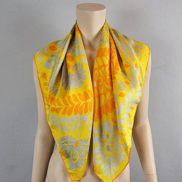 """Vintage 70s Vera Neumann Silk Scarf Paisley Spring Flowers Yellow Wildflower Floral Hand Rolled Large  31"""" x 31"""""""