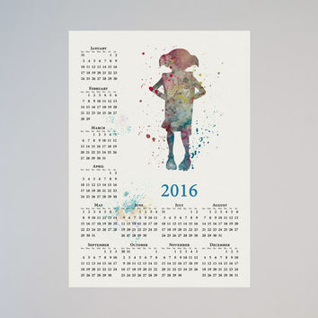 Harry Potter Dobby Calendar Personalized 2016 Watercolor Picture Print Save the date gift Christmas New Year Birthday present Movie Decor