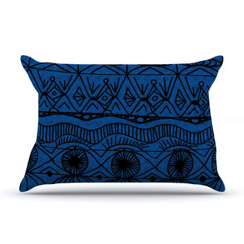 "Catherine Holcombe ""Black and Blue"" Pattern Pillow Case"
