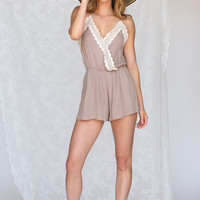 Hope Taupe Lace Romper