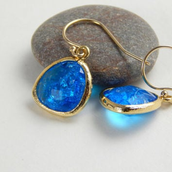 Capri blue and gold crystal dangle earrings, blue cz frosted, hanging earrings, everyday or special event earrings