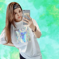 Real Holographic Oversized Tee from ☯ harajuku alien ☯