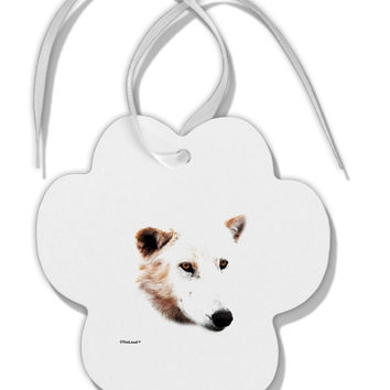 TooLoud White Wolf Head Cutout Paw Print Shaped Ornament